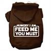 Mirage Pet Products Hungry I Am Screen Print Pet Hoodies Brown Size XXXL (20)