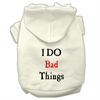 Mirage Pet Products I Do Bad Things Screen Print Pet Hoodies Cream Size S (10)