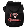 Mirage Pet Products I Heart Christmas Screen Print Pet Hoodies Black Size XS (8)