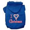Mirage Pet Products I Heart Christmas Screen Print Pet Hoodies Blue Size Sm (10)