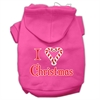 Mirage Pet Products I Heart Christmas Screen Print Pet Hoodies Bright Pink Size Med (12)