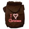 Mirage Pet Products I Heart Christmas Screen Print Pet Hoodies Brown Size Med (12)