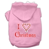 Mirage Pet Products I Heart Christmas Screen Print Pet Hoodies Light Pink Size Med (12)