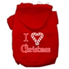 Mirage Pet Products I Heart Christmas Screen Print Pet Hoodies Red Size Sm (10)