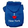 Mirage Pet Products I Love New York Screen Print Pet Hoodies Blue Size XS (8)