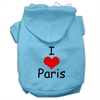 Mirage Pet Products I Love Paris Screen Print Pet Hoodies Baby Blue Size XS (8)