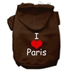 Mirage Pet Products I Love Paris Screen Print Pet Hoodies Brown Size Lg (14)