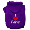 Mirage Pet Products I Love Paris Screen Print Pet Hoodies Purple Size XS (8)