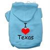 Mirage Pet Products I Love Texas Screen Print Pet Hoodies Baby Blue Size XS (8)