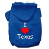 Mirage Pet Products I Love Texas Screen Print Pet Hoodies Blue Size Sm (10)