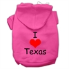 Mirage Pet Products I Love Texas Screen Print Pet Hoodies Bright Pink Size XS (8)