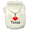 Mirage Pet Products I Love Texas Screen Print Pet Hoodies Cream Size Med (12)