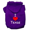 Mirage Pet Products I Love Texas Screen Print Pet Hoodies Purple Size XS (8)
