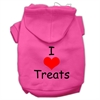 Mirage Pet Products I Love Treats Screen Print Pet Hoodies Bright Pink Size XS (8)