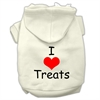Mirage Pet Products I Love Treats Screen Print Pet Hoodies Cream Size Sm (10)