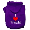 Mirage Pet Products I Love Treats Screen Print Pet Hoodies Purple Size Sm (10)