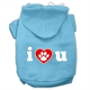 Mirage Pet Products I Love U Screen Print Pet Hoodies Baby Blue Size XS (8)
