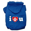 Mirage Pet Products I Love U Screen Print Pet Hoodies Blue Size Sm (10)