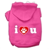 Mirage Pet Products I Love U Screen Print Pet Hoodies Bright Pink Size Med (12)