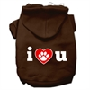 Mirage Pet Products I Love U Screen Print Pet Hoodies Brown Size Med (12)