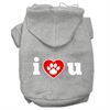 Mirage Pet Products I Love U Screen Print Pet Hoodies Grey Size XL (16)