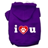 Mirage Pet Products I Love U Screen Print Pet Hoodies Purple Size Sm (10)