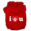 Mirage Pet Products I Love U Screen Print Pet Hoodies Red Size Med (12)