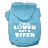 Mirage Pet Products I'm a Lover not a Biter Screen Printed Dog Pet Hoodies Baby Blue Size XL (16)