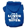 Mirage Pet Products I'm a Lover not a Biter Screen Printed Dog Pet Hoodies Blue Size XS (8)