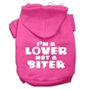Mirage Pet Products I'm a Lover not a Biter Screen Printed Dog Pet Hoodies Bright Pink Size Sm (10)