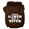 Mirage Pet Products I'm a Lover not a Biter Screen Printed Dog Pet Hoodies Brown Size XXL (18)