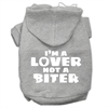 Mirage Pet Products I'm a Lover not a Biter Screen Printed Dog Pet Hoodies Grey Size XL (16)