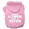 Mirage Pet Products I'm a Lover not a Biter Screen Printed Dog Pet Hoodies Light Pink Size Sm (10)