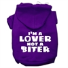 Mirage Pet Products I'm a Lover not a Biter Screen Printed Dog Pet Hoodies Purple Size Med (12)