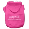 Mirage Pet Products I really did eat the Homework Screen Print Pet Hoodies Bright Pink Size XS (8)