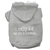 Mirage Pet Products I really did eat the Homework Screen Print Pet Hoodies Grey Size XL (16)