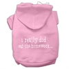 Mirage Pet Products I really did eat the Homework Screen Print Pet Hoodies Light Pink Size XS (8)