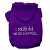 Mirage Pet Products I really did eat the Homework Screen Print Pet Hoodies Purple Size XS (8)