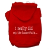 Mirage Pet Products I really did eat the Homework Screen Print Pet Hoodies Red Size XS (8)