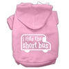 Mirage Pet Products I ride the short bus Screen Print Pet Hoodies Light Pink Size XS (8)