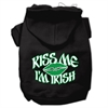 Mirage Pet Products Kiss Me I'm Irish Screen Print Pet Hoodies Black Size XL (16)