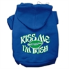 Mirage Pet Products Kiss Me I'm Irish Screen Print Pet Hoodies Blue Size Sm (10)