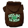 Mirage Pet Products Kiss Me I'm Irish Screen Print Pet Hoodies Brown Size Sm (10)