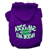 Mirage Pet Products Kiss Me I'm Irish Screen Print Pet Hoodies Purple Size Med (12)