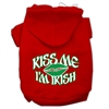 Mirage Pet Products Kiss Me I'm Irish Screen Print Pet Hoodies Red Size Med (12)
