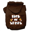 Mirage Pet Products Lick Or Treat Screen Print Pet Hoodies Brown Size Sm (10)