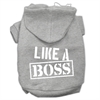 Mirage Pet Products Like a Boss Screen Print Pet Hoodies Grey Size XXL (18)