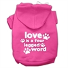 Mirage Pet Products Love is a Four Leg Word Screen Print Pet Hoodies Bright Pink Size Med (12)