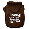 Mirage Pet Products Love is a Four Leg Word Screen Print Pet Hoodies Brown Size Sm (10)
