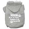 Mirage Pet Products Love is a Four Leg Word Screen Print Pet Hoodies Grey Size XXL (18)